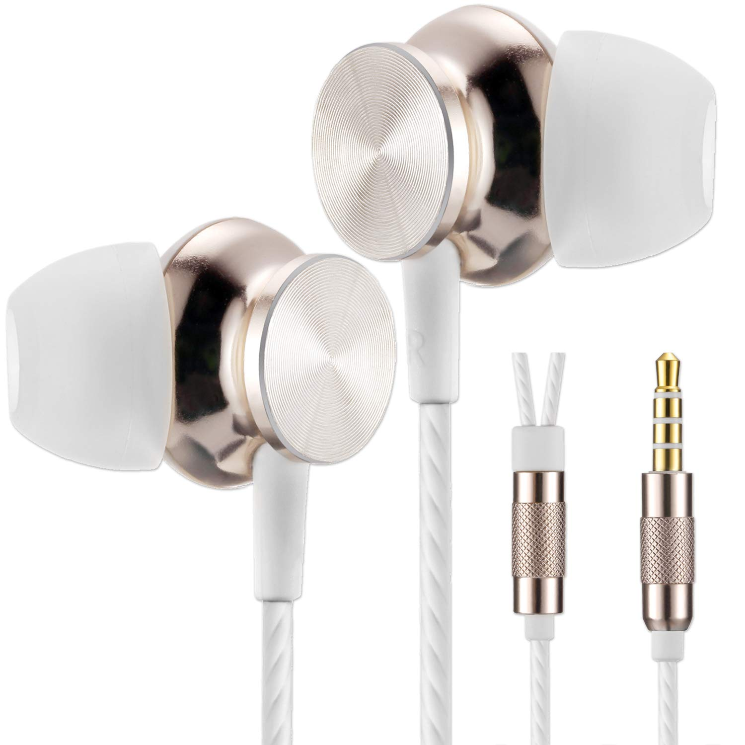 Betron BS10 Earphones Headphones, Powerful Bass Driven Sound, 12mm Large Drivers, Ergonomic Design for iPhone, iPad, iPod, Samsung and Mp3 Players (Gold)