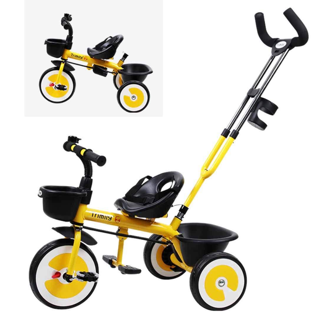 autorización oficial amarillo amarillo amarillo MUYU Pedal Triciclo niño 2 en 1 niño Carro de Bicicleta Empujador Desmontable Adecuado para niños de 1 a 6 años.  tienda de venta en línea