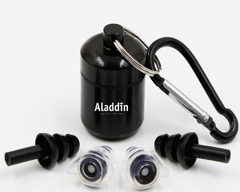 Aladdin Ear Plugs Ear Plugs noise reduction sleeping- Concert- Swimming - Shooting - Snoring block and More - 2 Pairs Packing In Blister, Instruction Paper Card, Black
