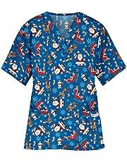 Msaikric Printed Scrub Tops Women Christmas Print Nurse Medical Uniform Tops V-Neck Short Sleeve Tshirt Casual Tunic Blouse