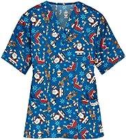 Msaikric Printed Scrub Tops Women Christmas Print Nurse Medical Uniform Tops V-Neck Short Sleeve Tshirt Casual