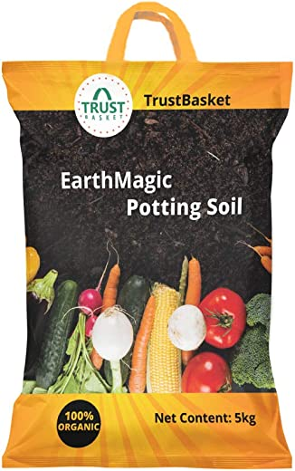 Trust basket Enriched Organic Earth Magic Potting Soil Fertilizer for Plants, 5 kg