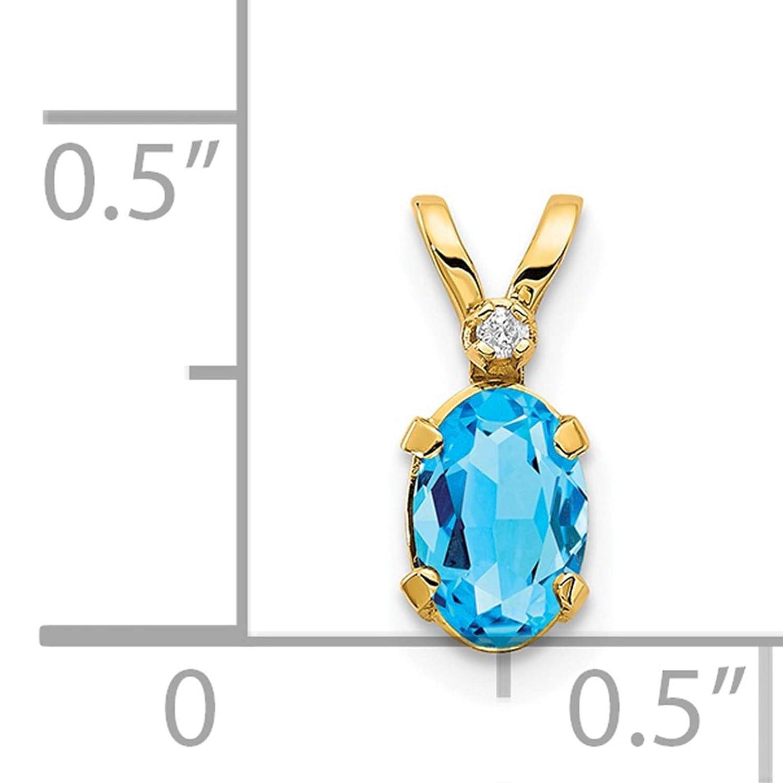 14K Yellow Gold Diamond /& Blue Topaz December Stone Pendant