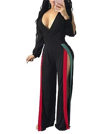 b0ce97981aa Vamvie Womens Sexy V Neck Long Sleeve Side Split Wide Leg Pants Jumpsuits  Romper Black 3XL