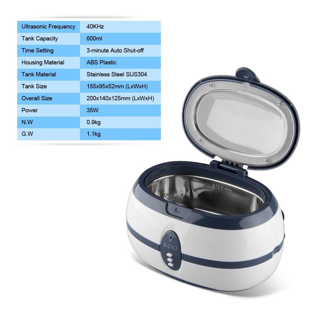 Orologi Floureon VGT-600 600ML Display Digitale Pulitore Ad Ultrasuoni Per Gioielli Occhiali e Oggetti In Metallo CD