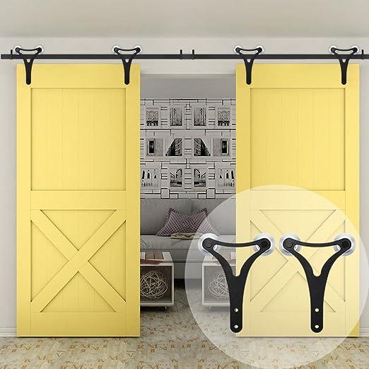 WINSOON - Kit de herramientas para puerta corredera de armario de doble rueda de aluminio con colgadores grandes en forma de Y para puerta doble: Amazon.es: Bricolaje y herramientas