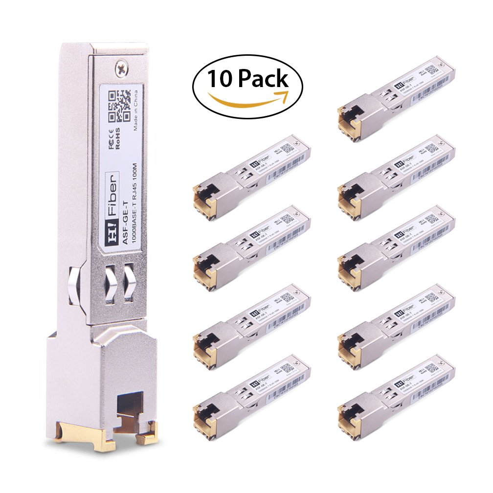 SFP Copper RJ45 Transceiver Gigabit Module 1000Base-T Compatible for Cisco GLC-T/SFP-GE-T, 10 Pack by H!Fiber.com