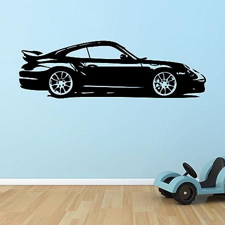 Atemberaubend Porsche 911 GT3 Turbo Silhouette Wall Art Sticker - Large - Orange #LZ_92