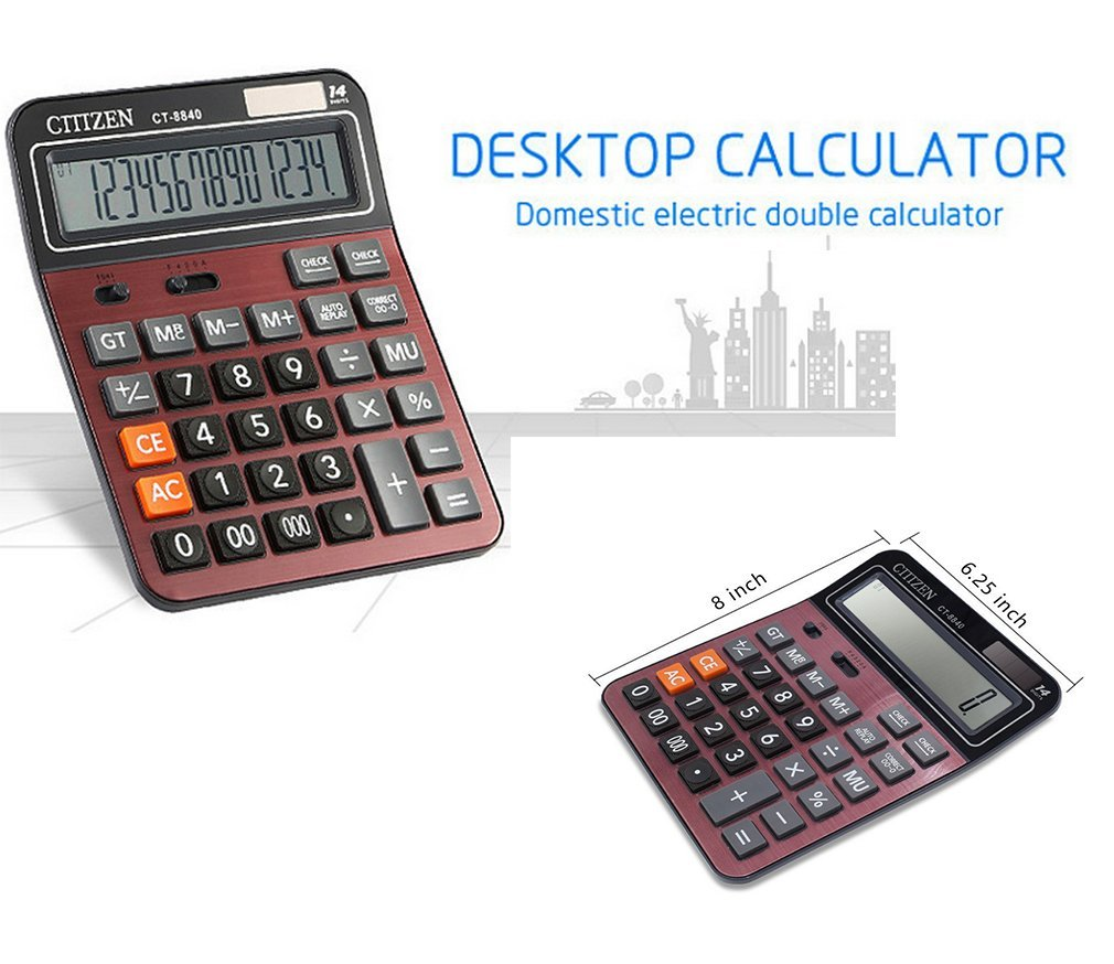 Calculator,Asolaba Large 12-digit Electronic Desktop Calculator - Battery & Solar Powerd Standard Function Desktop Business Calculator with LCD Display Screen for Home & Office Use