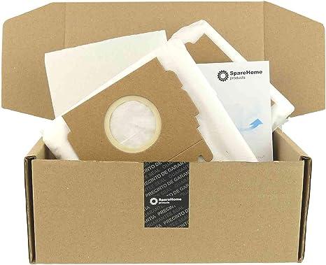 SpareHome 8 Bolsas de Alto Rendimiento HyperfilterPlus + 2 microfiltros para Aspirador Moulinex Powerclean: Amazon.es: Hogar