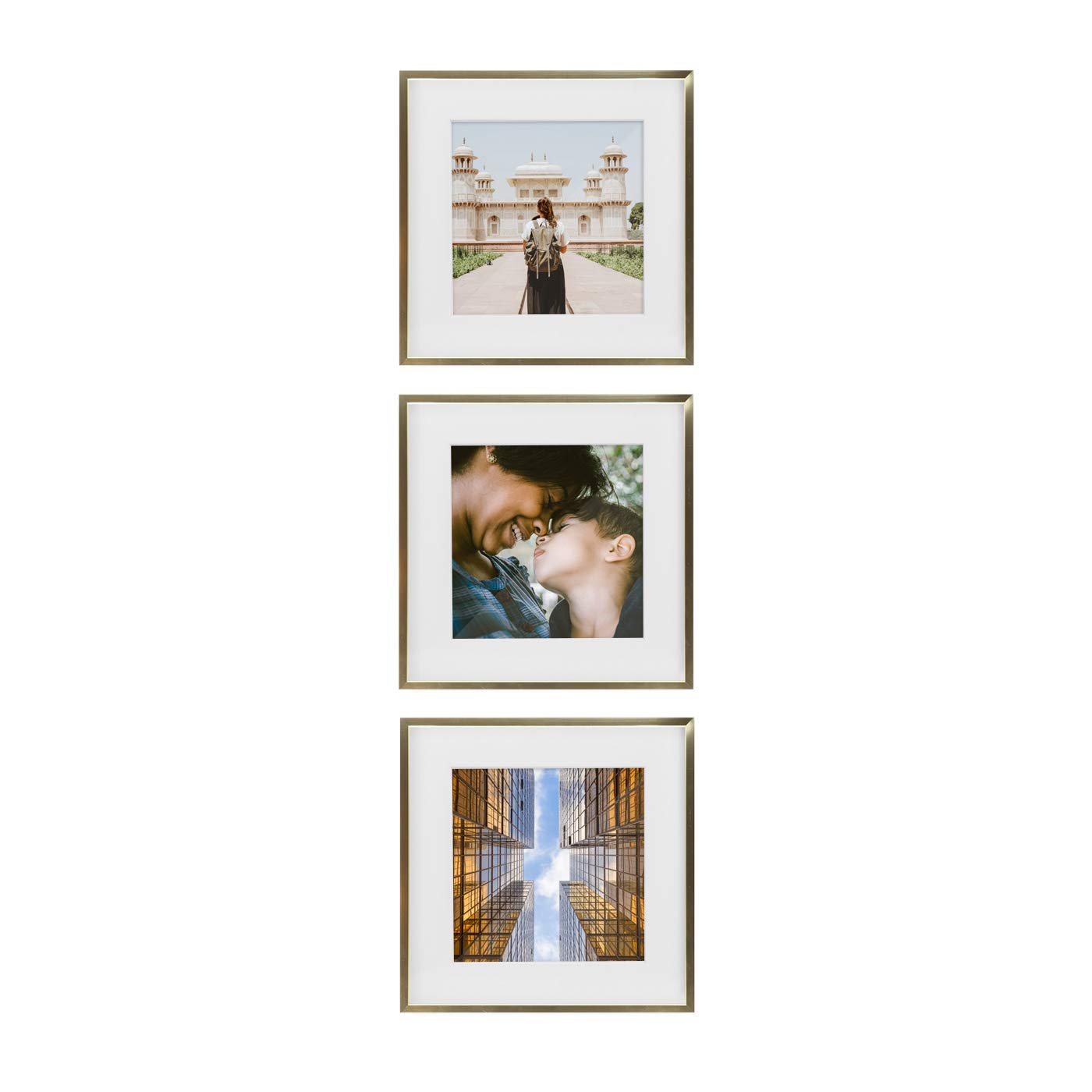 Tiny Mighty Frames - Gold Metal Square Photo Frame, 11x11 (8x8 Matted) (3, Gold) by Tiny Mighty Frames