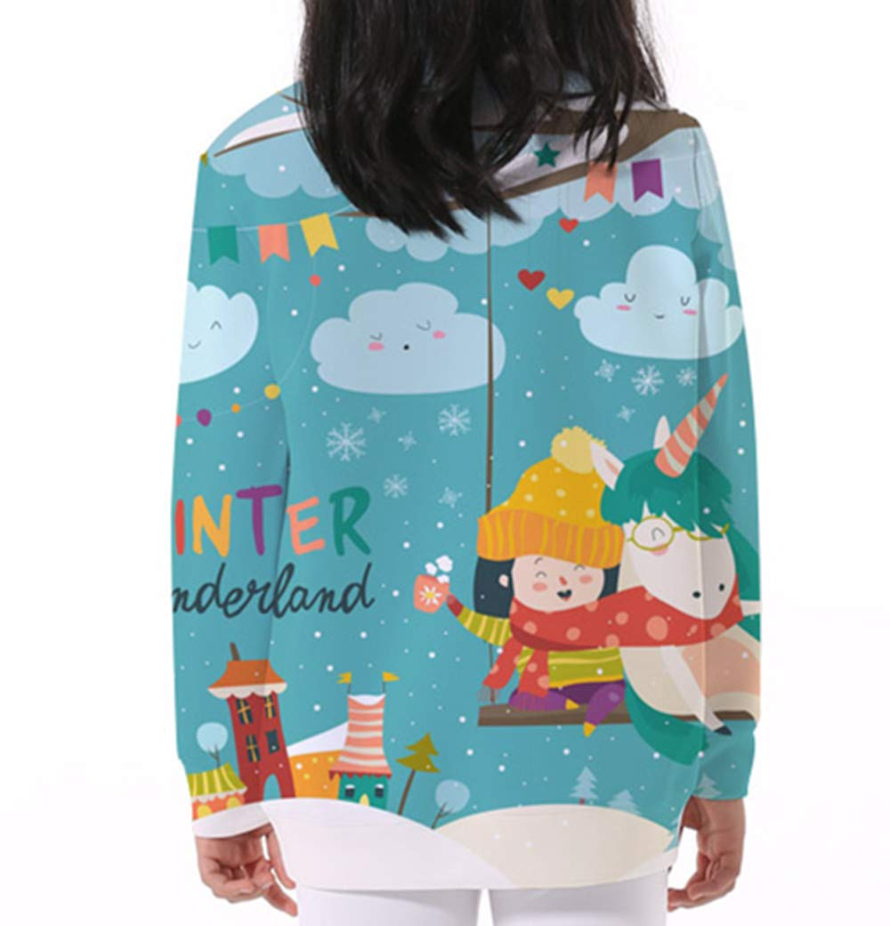 KIDVOVOU Kids Unicorn Gift Hoodie Pullover Unicorn Sweatshirt Girls,5-6years,Winter Festival by KIDVOVOU (Image #3)