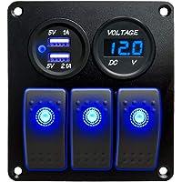 LED Voltm/ètre 4,2 A Double chargeur USB pour camping-car camping-car Kaolali Interrupteur /à bascule avec 8 interrupteurs prise allume-cigare 12 V bateau caravane