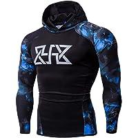 WUAI Clearance, Mens Hoodie Sweatshirts Camo Print Slim Fit Muscle Bodybuilding Sportswear Shirts Tops