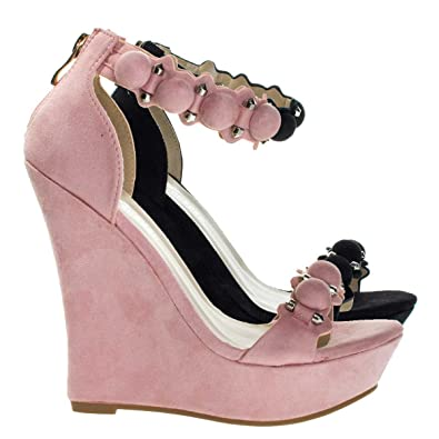 ffd0f44429 Amazon.com | Forever Link Super Tall Platform Wedge Sandal W Bullet Metal  Hardware Detail w Bead | Platforms & Wedges