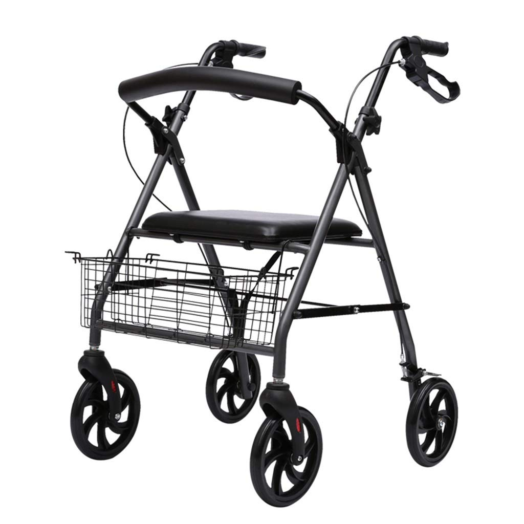 【お買得!】 歩行者のアルミ合金の高齢者が車輪と座席で歩くのを補助しましたウォーキングフレーム(ブラック) B07NQ313X8 B07NQ313X8, インドカレーのハリオン:221dc29c --- a0267596.xsph.ru