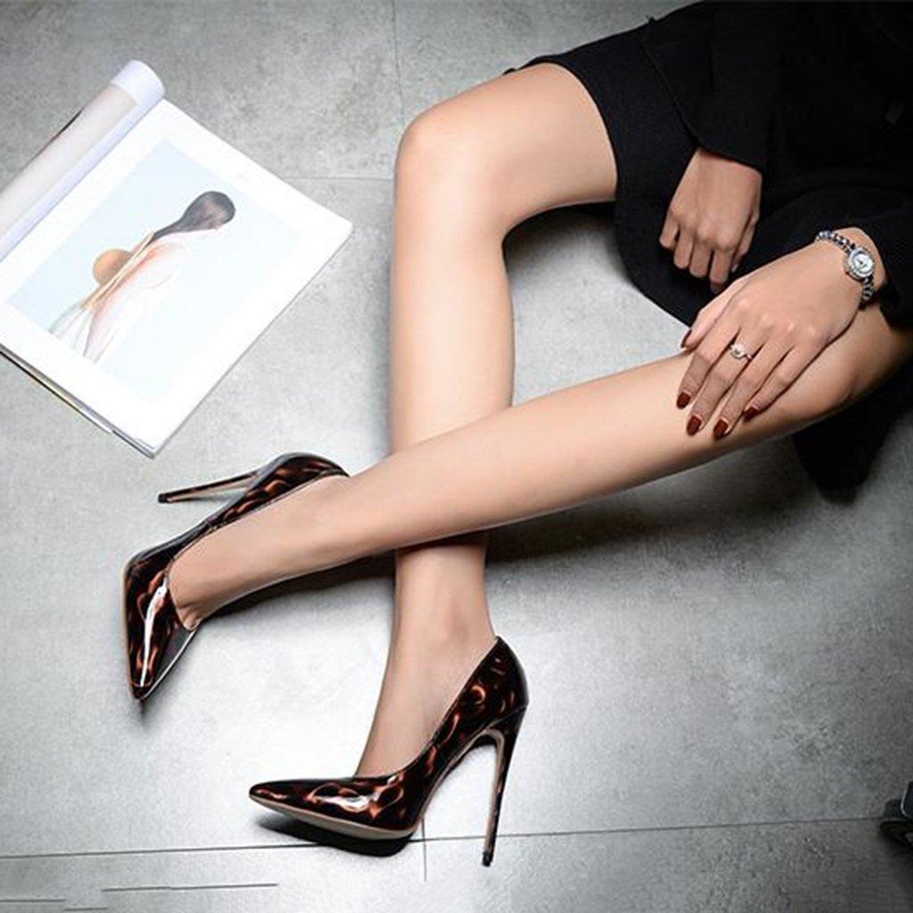 Single schuhe - female High-heeled Damen-Einzelschuhe 8.5cm/10.5cm/12cm Dunkelbraun, der sexy (Farbe Parteihochzeitsschuhe druckt (Farbe sexy : Height 8.5cm, größe : 36-Schuhes long230mm) Height 8.5cm 3f16db