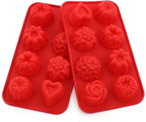 WARMBUY Silicone Molds for Bath Bomb Soap Chocolate Candy Making, Flower and Heart Shape, 2 Pack