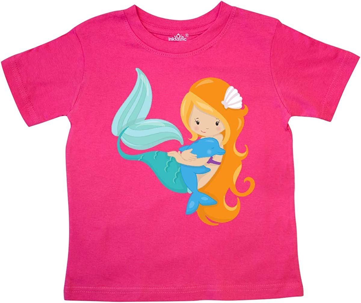 inktastic Mermaid and Dolphin Mermaid with Orange Hair Toddler T-Shirt