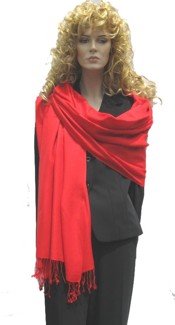 PASHMINA SHAWL- Pure Pashmina Shawl in 3 PLY from Cashmere Pashmina Group (Lipstick Red)