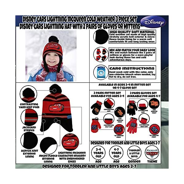 Disney Cars Hat and 2 Pair Mittens or Gloves Cold Weather Set, Little Boys, Age 2-7