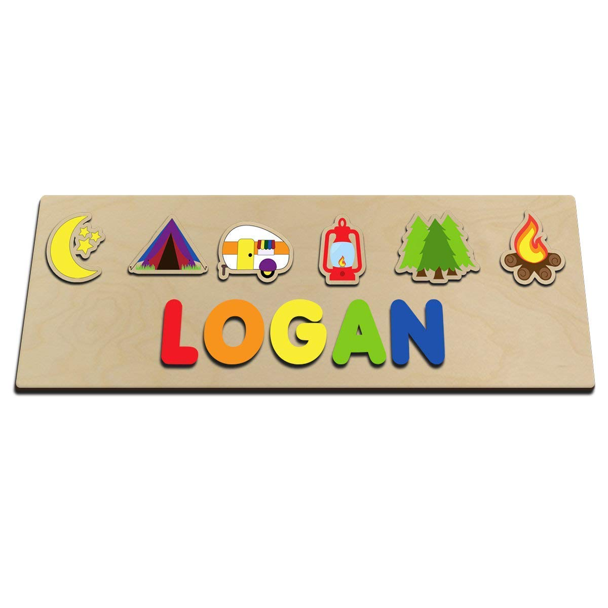 Camping Personalized Wooden Baby Name Puzzle For Toddler Gift