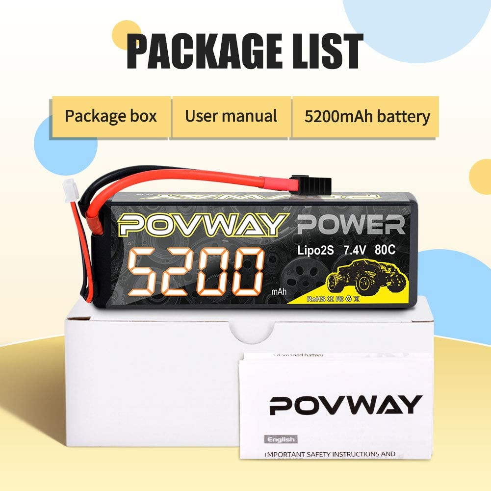 2pack Quadcopter 52002S80C-TRX Plug RC Airplane POVWAY 5200mAh 80C 7.4V 2S RC LiPo Battery Hard Case for RC Cars Drone RC Helicopter RC Truck