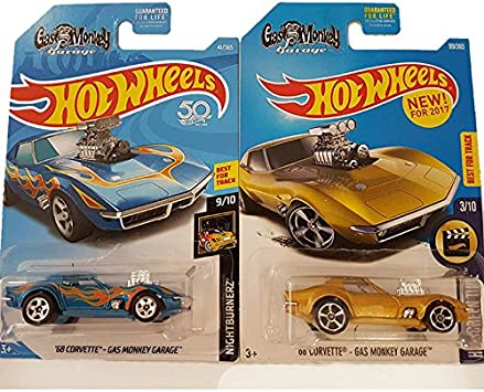 Hot Wheels Pack 2 Coches Gas Monkey Garage - 68 Corvette (Azul y Dorado): Amazon.es: Juguetes y juegos