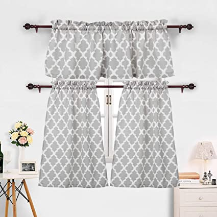 3 Pieces Kitchen Curtains Set Moroccan Cotton Blend Kitchen Cafe Tier Curtains And Valance Geometric Printed Print Rod Pocket Small Window Curtain For