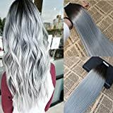 "20"" 20pcs/50g Balayage Seamless Skin Weft Tape In Hair Extensions Omber Color #1B Natural Black Fading to Sliver Grey Tape Human Hair Extensions Double Drawn PU Tape on Hair Extensions Review"