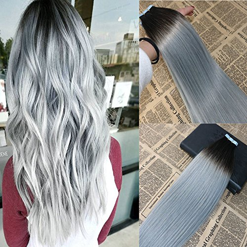 18'' 20pcs/50g Silver Ombre Tape in Hair Extensions Color #1B Fading to Grey Balayage Double Drawn Tape in Extensions Human Hair Top Quality Remy Glue in Hair Extensions ()