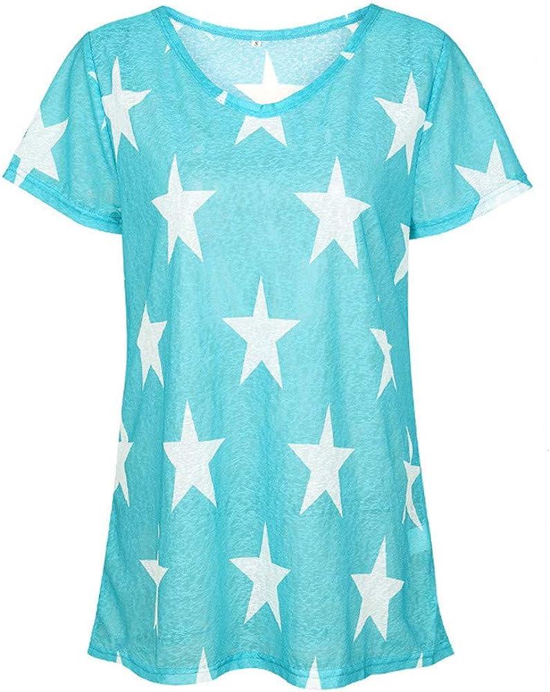RYJShop Camisa Informal Fresca, Estampado de Estrella de Cinco Puntas Camiseta Informal cómoda y cómoda Top Estampado de Estrella de Cinco Puntas: Amazon.es: Ropa y accesorios