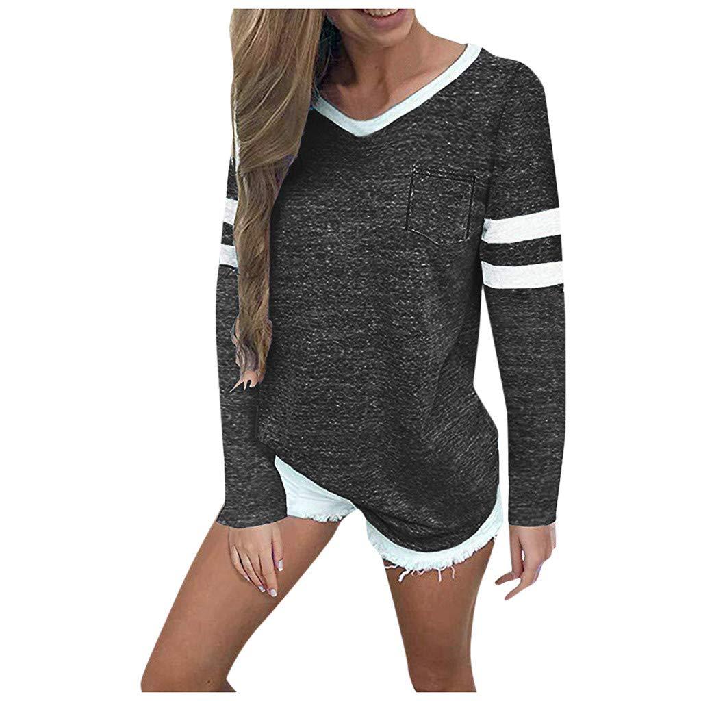 SHUSUEN Womens Long Sleeve Round Neck T Shirts Color Block Striped Causal Blouses Tops Dark Gray by SHUSUEN