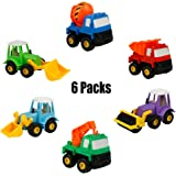 Fajiabao Truck Toy Car Construction Toys Pull Back Vehicles Best Party Supplies Favors Christmas Birthday Gifts for Kids Boys Girls 3 Years and Up, 6pcs(Color Vary)