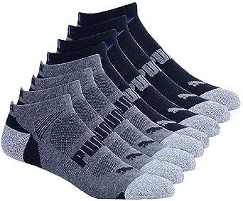 Puma Mens No Show Sport Socks, Moisture Control, Arch Support (8 Pair) (Regular Shoe Size: 6-12, Black)