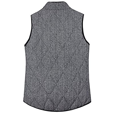 MEROKEETY Women's Slim Fall Quilted Herringbone Puffer Vest with Zipper at Women's Coats Shop