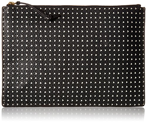 Fossil Emma Leather Tech Pouch, Black/White