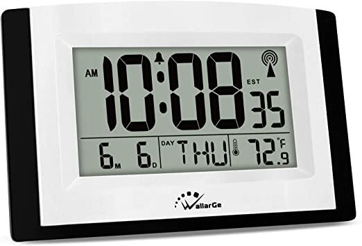 Amazon Com Wallarge Digital Wall Clock Autoset Atomic Clock With Temperature And Date Battery Operated Alarm Clock Large Digital Display Easy To Read Day Of The Week No Backlight Home Kitchen