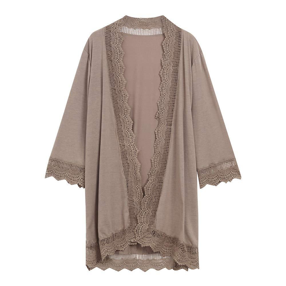 Women's Lace Cardigan Coat Tops Detail 3/4 Loose Ruffle Bell Sleeve High Low Kimono Cardigan Cover up(Khaki,M)