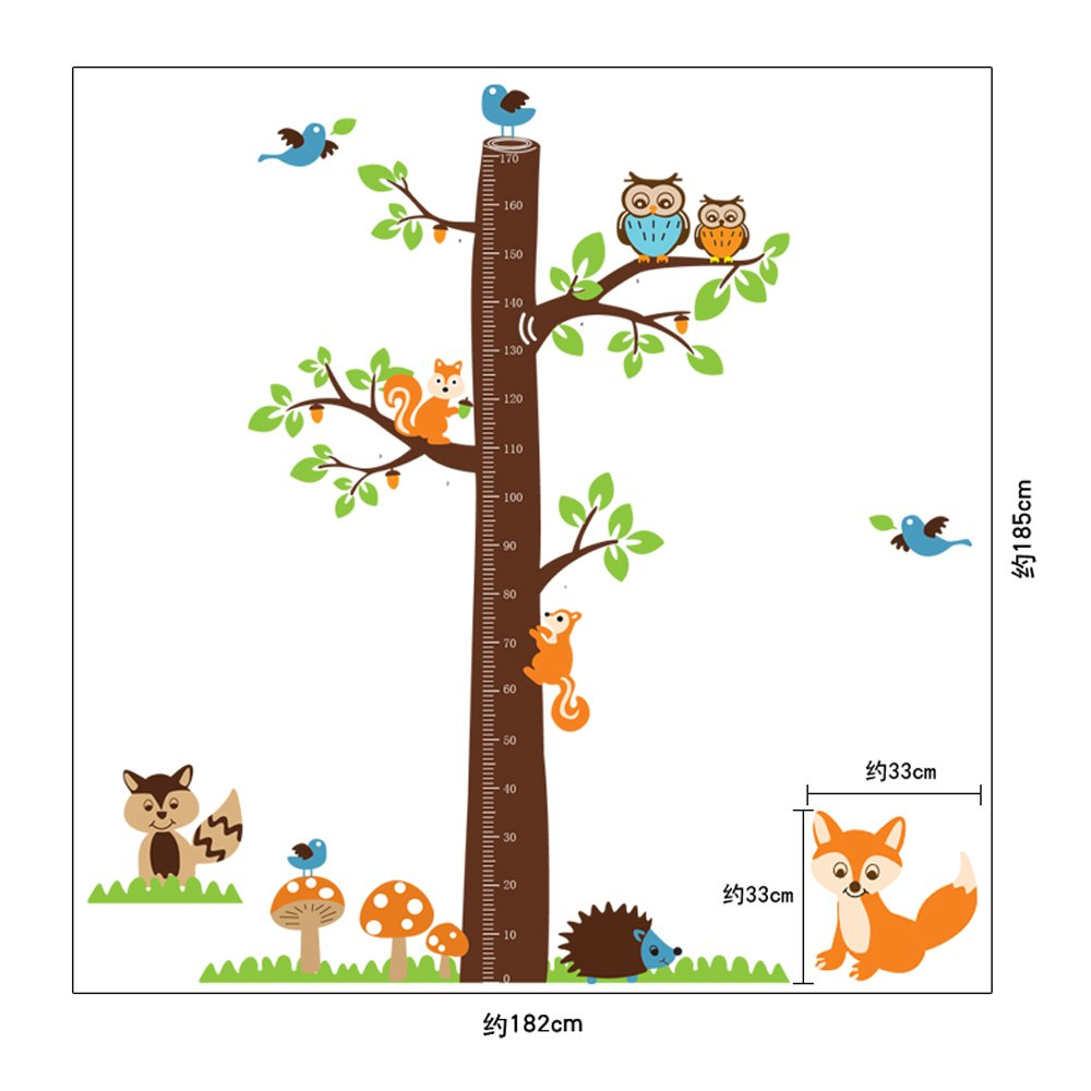 Amazon rrrljl forest animals and owl with tree growth chart amazon rrrljl forest animals and owl with tree growth chart vinyl art wall decal sticker for kids nursery room home kitchen nvjuhfo Image collections