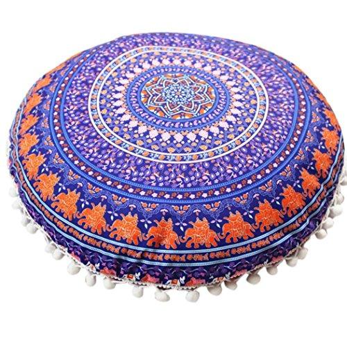 Napoo 2018 New Indian Mandala Print Pillows Round Bohemian Home Pillows Case Cushions (K) -