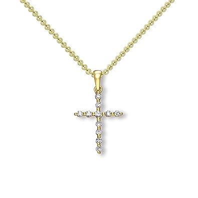 Luxusetui + Goldanhänger echt Gold Kreuzkette mit Stein wie Diamant  Kreuzanhänger Anhänger Kommunion Konfirmation Taufkette FF513 GG333ZIFA45   Amazon.de  ... 9170e57f9c