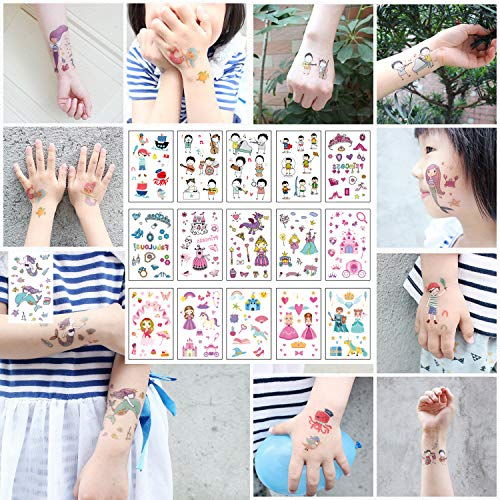 20 Sheets Cartoon Temporary Tattoo Sticker for Kids Children, Fashion Body Art Boy And Girl Waterproof Fake Tatoo,150+ Princess Castle Mermaid Student Pirate Cartoon Fake Tattoo Designs(3'' x 4.7'') ()