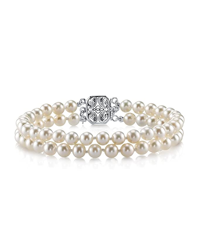 Vintage Style Jewelry, Retro Jewelry THE PEARL SOURCE Sterling Silver AAAA Quality Round White Double Freshwater Cultured Pearl Bracelet for Women $119.00 AT vintagedancer.com