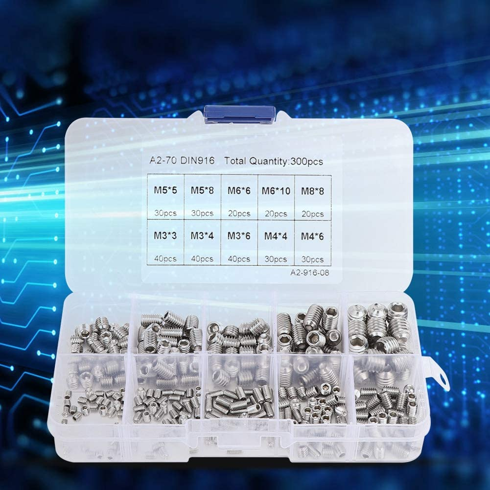 M3 M4 M5 M6 M8 Multiple Sizes Stainless Steel Fixing Screws Fasteners Tools with Storage Box 300Pcs Hex Socket Screw Combination Set