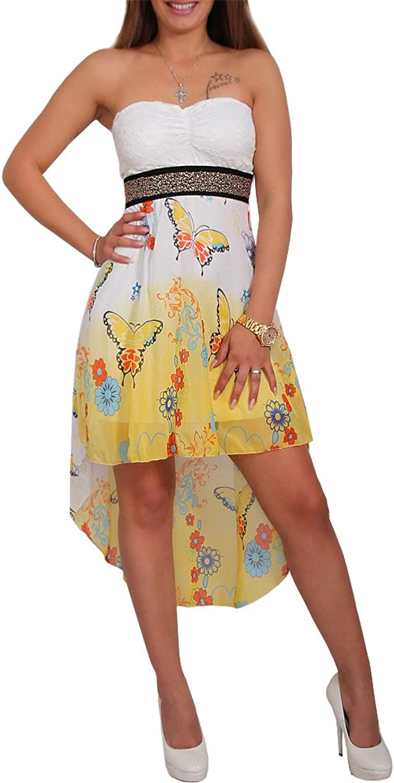 Chiffon Bandeau Kleid Vokuhila Strass Spitze Cocktailkleid Party  Schmetterling (Gelb)