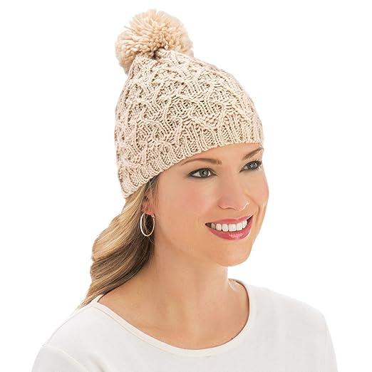 b0bbee9e1d9f8 Pom Pom Criss-Cross Cable Knit Winter Hat Beanie