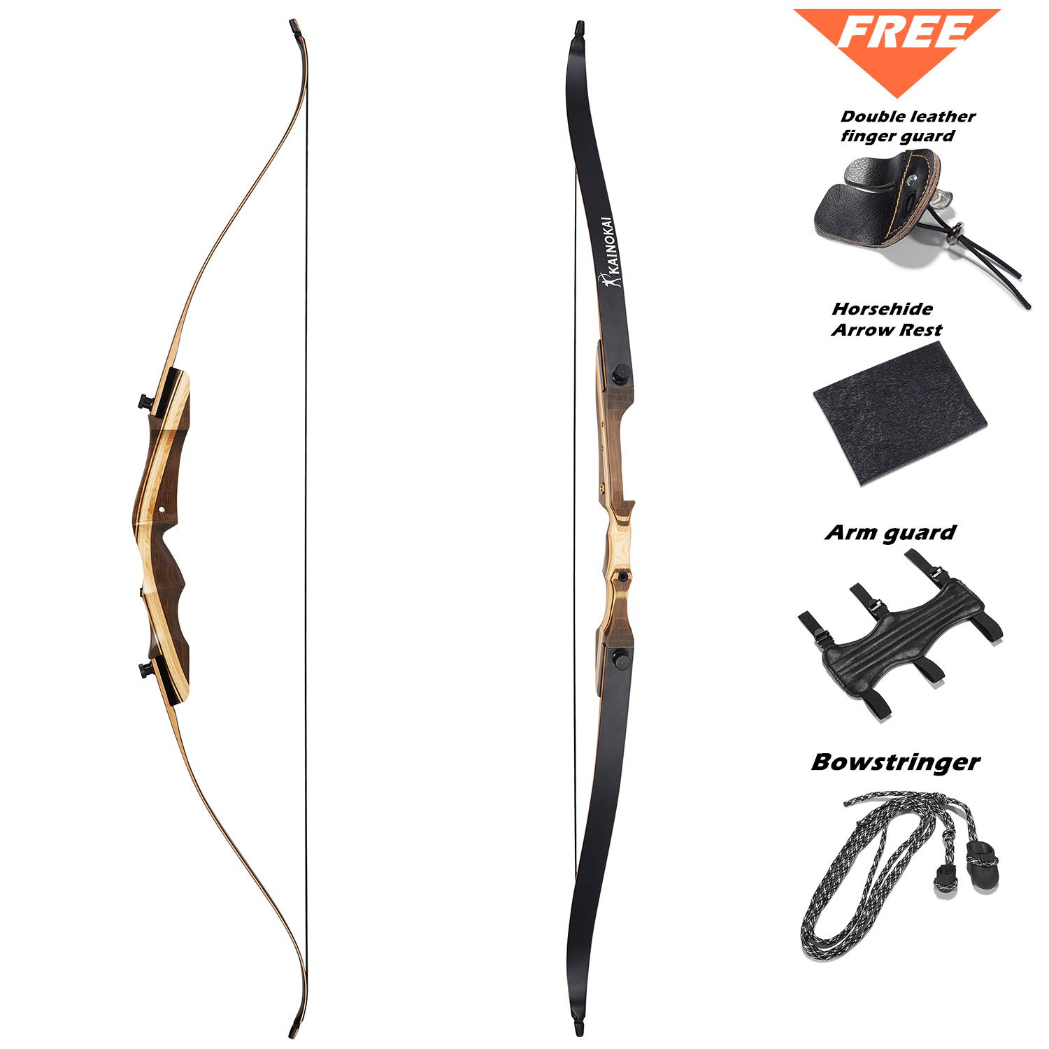 KAINOKAI 62'' Takedown Recurve Bow,Right & Left Hand,Hunting Recurve Archery Bow for Teens and Adults,15-60 lbs (Right Hand, 15lb) by KAINOKAI