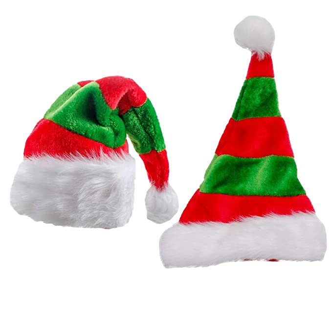 11695a3bc7d12 Amazon.com  Christmas Santa Claus Hat Child Red Green Headwear for Holiday  Decoration  Home   Kitchen