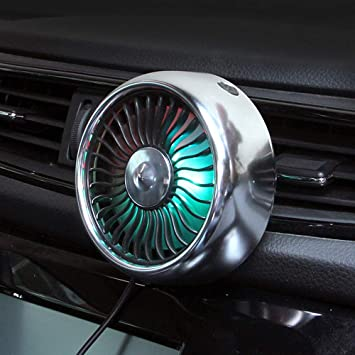 silver Car Fan Car Air Vent USB Fans Auto Cooling,360 Degree Rotation,3 modes to adjust the speed quiet and strong